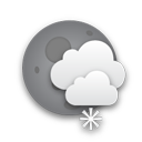 Partly cloudy and light snow